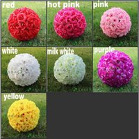 Wholesale 30 CM quot New Artificial Encryption Rose Silk Flower Kissing Balls Hanging Ball Christmas Ornaments Wedding Party Decorations