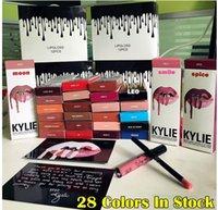 Wholesale Christmas Gift Latest colors KYLIE JENNER LIP KIT Kylie Lipliner pencil Velvetine Liquid Matte Lipstick in Red Velvet Makeup Lip Gloss