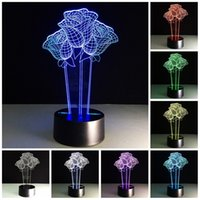 beautiful computer table - Beautiful Rose Flower D Optical Illusion Lamp Seven Color Changing Table Desk USB Light Computer USB Port Powered