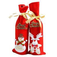 attached letter - Merry Christmas letter attach bottle cover bag home party Elk snowman Santa Claus style wine bottle covering with drawingstring