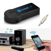 achat en gros de audio handfree-2017 Handfree Car Bluetooth Music Receiver Sans fil Bluetooth 3.5mm AUX Audio Stereo Music Home Récepteur de voiture Adaptateur Mic
