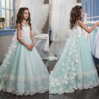 Wholesale elegant girls pageant dresses sheer neck beaded sash a line floor girl gowns sweep train wedding guest dress