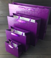 Wholesale 100 Small Size Pure purple With Handle Paper Packing Bag Party Gift Bag Cloth Shopping Bag
