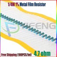 Venta al por mayor-NUEVO 100pcs 4.7 ohmio 1 / 4W 4.7R Resistor de película de metal 4.7ohm 0.25W 1% ROHS