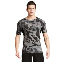 Men outdoor clothes drying - Short sleeved fitness clothes men s sports outdoor camouflage uniforms dry clothes basketball running T shirts