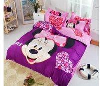 achat en gros de couette pourpre complet-Vente en gros-Purple Minnie Mouse Literie Ensembles Twin Full Queen Duvet / Housse Couette Set literie Peinture à l'huile Ensembles Set 3/4