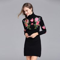 beautiful sweater dresses - Royal embroidery flower women s sweater dress autumn winter European runway luxury lady beautiful wool sweater female