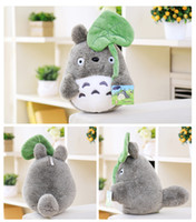 Wholesale 25cm lovely plush toy my neighbor totoro plush toy cute soft doll totoro with lotus leaf kids toys Cat