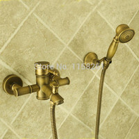 bamboo shower faucet - Bamboo Shower Faucet Mixer Tap Antique Brass Bath Shower Faucet Set bathtub faucet torneira bath ZLY