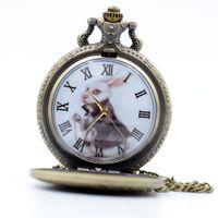 alice in the wonderland dress - Vine Bronze Alice in Wonderland The White Rabbit Dial Quartz Pocket Watch Analog Pendant Necklace Mens Womens Watches Gift