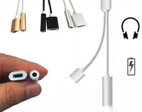 Wholesale 2 in Charger and Audio Iphone plus s Earphone Headphone jack Adapter Connector Cable mm Headset Connector Cord Audio line