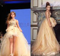 2017 High Low Chicas vestido de vestir vestidos formales Jewel Sequins Organza vestido de niña de flores para bodas Zipper Girls Party Comunion