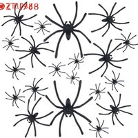 Black best halloween jokes - 20pce Joking Toys Halloween Gadget Plastic Black Spider Slime Toy Realistic for Fun Brincando Brinquedos Best seller Drop Ship