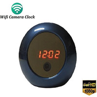 Wholesale P2P Wifi Hidden Pinhole Alarm Clock Camera H Mini IP Spy Camera Security Surveillance Camera Video Recorder Phone App Remote Control