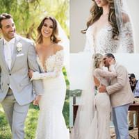 arabic robe - 2016 New Sexy Berta Lace Garden Mermaid Wedding Dresses Long Sleeves Sheer Crew Neck Robe De Soiree Backless Long Arabic Style Brdial Gowns