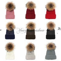 beanie women s green - Fashion Raccoon fur ball cap pom poms winter hat for women girl s beanie hat knitted beanies cap brand new thick female cap M508