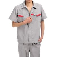 Wholesale Lstest Version Summer Short Sleeve Work Uniform Clothes Suit Overall Superior Fabric Anti dust Five Size Light Grey