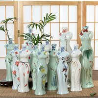 Wholesale Novelty china Cheongsam Ceramics Vases artificial flower Vase Ostrich Feather Vases for party wedding home decorations supplies styles