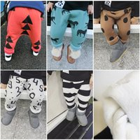 Wholesale Autumn And Winter Cotton Thicken Velvet Long Harem Pants For Kids Baby Boys And Girls Trousers Clothes