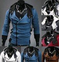 Wholesale Men s Coat Slim Personalized hat Design Hoodies Sweatshirts Jacket Sweater Assassins creed Size M XL Plus Size