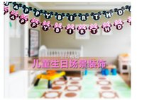 Wholesale Best price Minnie Head Mouse Happy birthday Paper Flags Party Bunting Banner for kids Birthday party Decoration