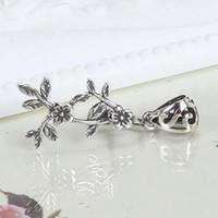 antique asian art - Art Nouveau Sterling Silver Flower Leaf Women Pendant Clip Clasp Elegant Retro Fashion Antique exquisite