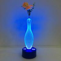 Cartoon aa pins - 3D Blowling Pin Illusion Lamp Night Light with Flower DC V USB Charging AA Battery Dropshipping Retail Box