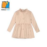 Wholesale Girl s Large Size Single Breasted Coat Double Pocket Long Sleeve Outwear Sweet Preppy Style Coats Kids Wear YAKUYIYI