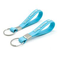 Keychain Porte-clés personnalisé libre de bracelet de silicone de DHL avec votre écriture ou logo. Porte-clés logo personnalisé pour le cadeau promotionnel d'affaires SWK001