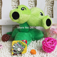 Wholesale inch cm Cute Plant Vs Zombies Series Plant Double Head Peashooter Plush Toy Doll pack