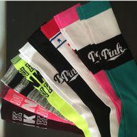 Wholesale 2017 Women VS Pink Socks Victoria Knee girls High Socks Sports Football Cheerleaders Stockings VS Stockings Cotton Pink Brand Leg Warmers