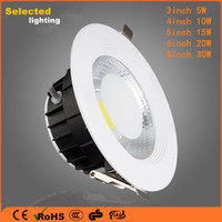 Wholesale 3 inch COB Led Downlights Led Light Bulbs W10W15W20W30W IP44 Led Recessed Ceiling Lights with Aluminum Heat Sink