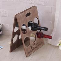 al por mayor vino la artesanía del hierro-YUMU Home Bar Soporte de botellas de vino Arte de hierro Creative Wine Rack Titular de la botella Decoración del hogar Artesanía DH-LP-09