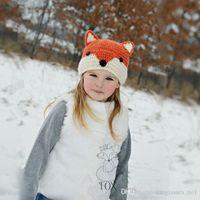 Girl Winter Crochet Hats Cute Fox Hats Autumn Winter Animal Ear Caps Kids Girls Boys Warm Woolen Knitted Beanies Baby Christmas Gifts Handmade Crochet Hats PPA543