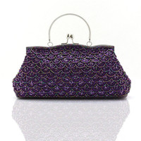 beaded purse frames - New Women s Party Handbag Exquisite beaded Fish Scales Evening Bags Wedding Dinner Rhinestone Clutch Purse Shoulder Bag WY89