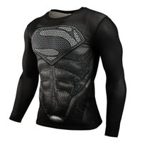 Wholesale 2017 New Fitness Compression t shirt Men Superman Bodybuilding Long Sleeve D T Shirt Crossfit Tops t shirts