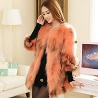 Wholesale 2017 new raccoon hair lady fox fur coat jacket slim Fashion winter brand women s