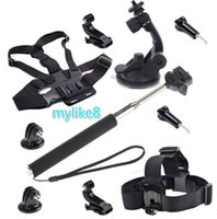 Head belt cup holder - Suction Cup Mount Holder Chest Belt Strap Extendable Handle Monopod black k sport camera Accessories Kit for hero Session SJ4000