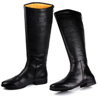al por mayor botas altas de cuero genuino de la rodilla-De Gran Tamaño De Los Hombres De Rodilla De Alta Botas De Moda Negro Botas De Motocicleta De Cuero Auténtico De Trabajo De Oficina Zapatos De Invierno Botas De Los Hombres