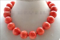 Wholesale Hot Sale beautiful Popular new quot Genuine Natural mm Pink Round Coral Necklace14k plated Clasp