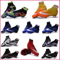Wholesale Mens Soccer Shoes Boots Mercurial Red High Top Soccer Cleats Superfly FG Outdoor Football Shoes Cleats Hot Sale Sport Shoes us6