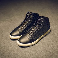 Wholesale PHSH Brands hign quality winter New punk men s casual pu lether shoes male s fashion street wear metal style Black gold high shoes