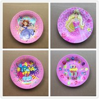 Wholesale inch Sofia Princess Paper Plate Cartoon Happy Birthday Birthday Party Decoration Kids Event Party Supplies