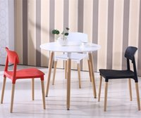 Wholesale dining room chair living room stool office plastic PP chair wood leg black white computer chair dining room stool