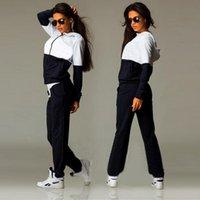 Cheap Fashion Womens Zipper Tracksuit Hoodie Sweatshirt+Pants Casual Patchwork Hip Pop Sportsuit sportwear Suits For Women
