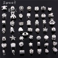 bell charm bracelet - Sweet Bell Silver Big Hole Beads Fit Antique Silver Metal Zinc Alloy Mixed DIY Beads Charm for Bracelets D0955