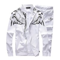 animal tracking - Fashion Spring Mens Track Suit Casual Mens Sportswear Angel Wings Printed Tracksuit Set Cardigan Baseball Sweatshirts xl