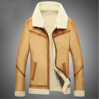 Wholesale Winter Shearling Mens Faux Fur Coat Fake Suede Jacket Lamb Wool Lining Hot Sale