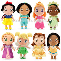 0-12 Months aladdin figures - New Toddler Princess Doll Rapunzel Aladdin Jasmine Tiana Sleeping Beauty Belle Pocahontas Tinkerbell Plush Dolls Toys Gifts cm