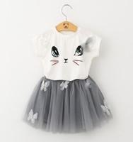 bear kitten - 2017 Bear Leader Girls Clothing Sets New Summer Fashion Style Cartoon Kitten Printed T Shirts Net Veil Dress Girls Clothes Sets
